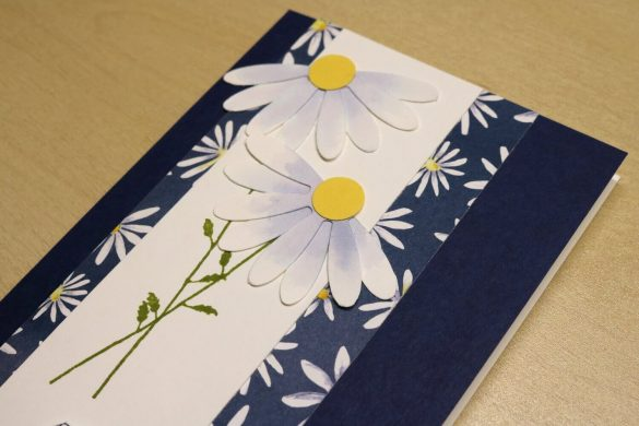Detailfoto der Gänseblümchen auf der Geburtstagskarte