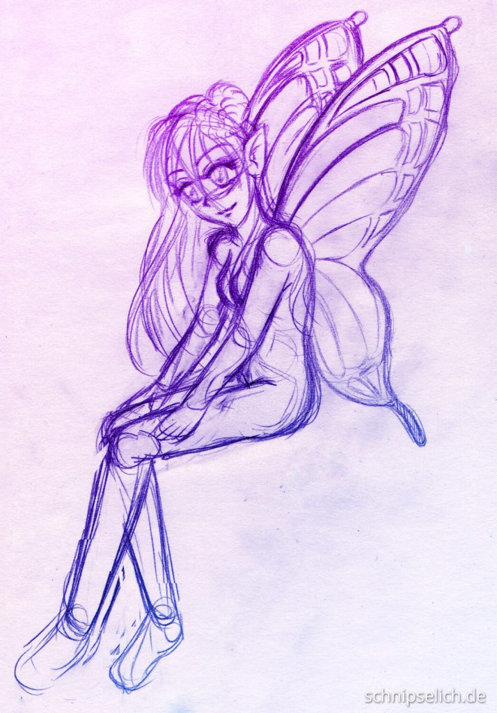 Skizze Butterfly Girl
